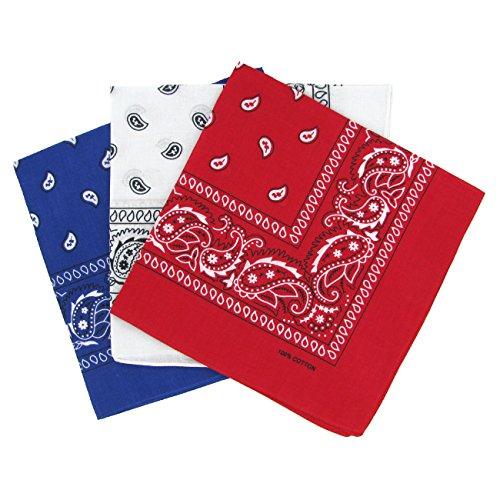 Set 3 bandanas paisley damen und herren rot, weiß, blau 57x57cm