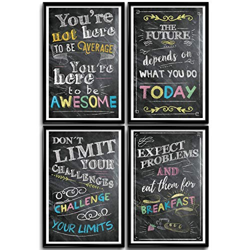 Classroom Posters, Motivational Poster, School Posters, Office Wall Decor, Inspirational Posters, Growth Mindset Posters, Classroom Posters Middle School, Inspirational Wall Art, Set Of 4 11x17in