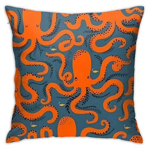 Antvinoler - Funda de almohada con diseño de pulpo naranja (cuadrada, 45 cm y 45 cm), color naranja