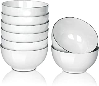 20 Ounce Porcelain Cereal//Salad//Desserts//Rice//Ice Cream Bowls Set of 6 Round, 5.5-Inch//20 Ounce Black Rim