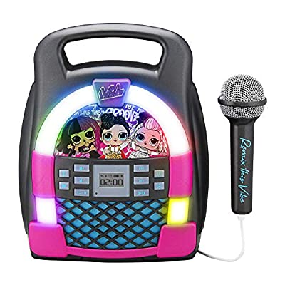 eKids LOL Surprise! Remix OMG Bluetooth Karaoke Machine MP3 Player Portable with LED Disco Light Show, Store Hours of Music with Built in Memory, Record, Real Working Microphone, USB Port by Kid Designs