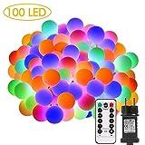 Lichterkette außen, ECOWHO 100 LEDs bunte Kugel Lichterkette strombetrieben mit Timer & Fernbedienung, 8 Modi & IP65 Wasserdichte Lichterketten...