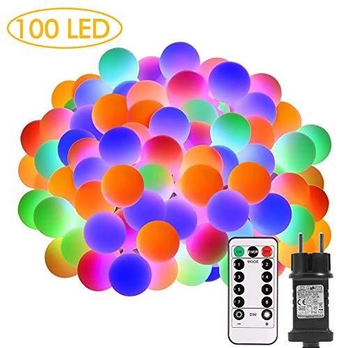 Lichterkette außen, ECOWHO 100 LEDs bunte Kugel Lichterkette strombetrieben mit Timer & Fernbedienung, 8 Modi & IP65 Wasserdichte Lichterketten für Zimmer, Balkon, Innen, Weichnachten