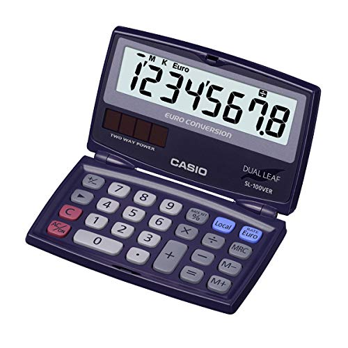 CASIO Taschenrechner SL-100VER, 8-stellig, Währungsumrechnung, Tausenderunterteilung, klappbar, Solar-/Batteriebetrieb