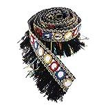 freneci Cinta de Flecos de Cinta Jacquard con Borlas de 1 Yarda para Textiles Suministros de Prendas de Vestir - Negro, Individual