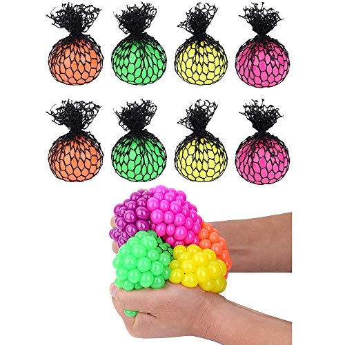 Totem World 8 Colorful Sewn Mesh Stress Balls - 2.4' Squishy Fidget Toy Perfect for Kids and Adults Materials for Lasting Use - Squeeze Balls for Anxiety and Concentration - Great Party Favors