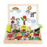 NANE Dibujo de Doble Cara Magnético Juguete Educativo para niños de 3+ años,Tablero Magnético de Dibujo de Madera de