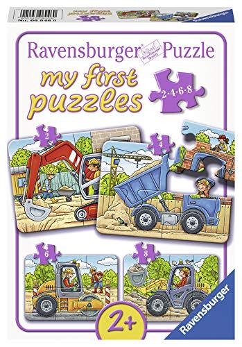 Ravensburger Kinderpuzzle 06946 - Meine liebsten Baustellenfahrzeuge - my first puzzles - 2,4,6,8 Teile