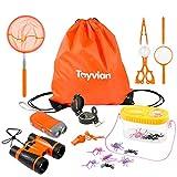 Toyvian Kinder Abenteuer Spielzeug Erkundung Spielzeug 18Stk-Fernglas,Handkurbel Lampe,Kompass,Lupe,Pfeife,Pinzette,Insekt Fänger Kit,Insekt...