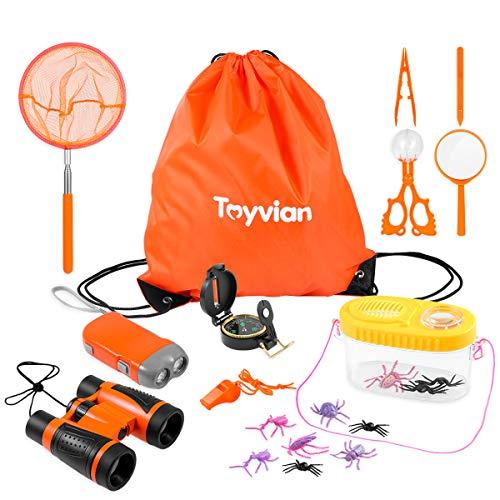 Toyvian Kinder Abenteuer Spielzeug Erkundung Spielzeug 18Stk-Fernglas,Handkurbel Lampe,Kompass,Lupe,Pfeife,Pinzette,Insekt Fänger Kit,Insekt Zuschauer,Kordelzug Rucksack-Camping Wandern Geschenk