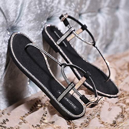 Uhrtimee Sandales Femmes été 2019 Nouveau Fond Plat étudiants Coréens étoiles Strass Wild Toe Grande Taille Pieds Chaussures, 38, Noir