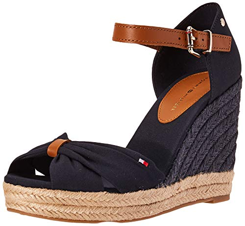 Tommy Hilfiger Damen Basic Opened Toe HIGH Wedge Peeptoe Sandalen, Blau (Desert Sky Dw5), 40 EU