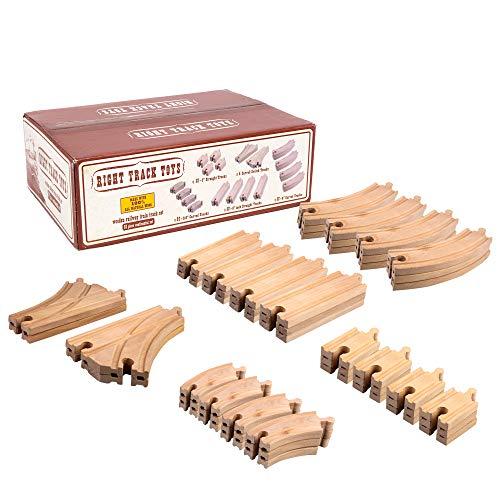 Wooden Train Track 52 Piece Set - 18...