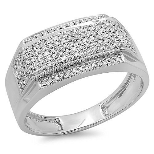 Dazzlingrock Collection 0.45 Carat (ctw) Sterling Silver White Diamond Men