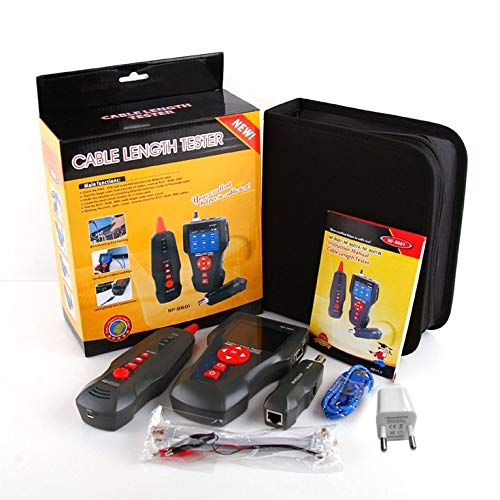 QiKun-Home NOYAFA NF-8601 Probador de Cable de Red Multifuncional Medidor de Longitud de Cable LCD Probador de Punto de interrupción Comprobador de línea telefónica RJ45 Enchufe Negro de la UE
