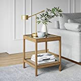 Nathan James Hayes Solid Wood Nightstand, Bedside, End or Side Table Glass Top with Open Storage Shelf, Light Brown