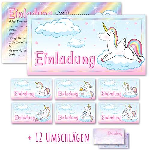 Any Age Art Einhorn Einladungskarten mit Umschlägen Set 12 - 6 Motive Kindergeburtstag Einladungen Kinder Mädchen Geburtstag Karten Feier Party Unicorn Pferd (12 Einladungskarten + 12 Umschlägen)