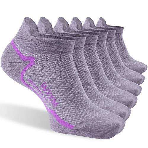 Athletic Merino Wool Socks,WXXM Unisex Ankle Light Running Hiking Thin No Show Liner Socks for Men Women (6 Purple-purple, L)