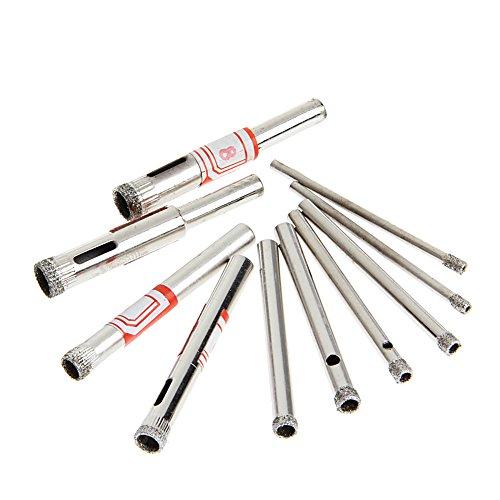 Ontracker Juego de 10 herramientas para perforar agujeros de sierra de 3 a 8 mm para azulejos de vidrio de mármol