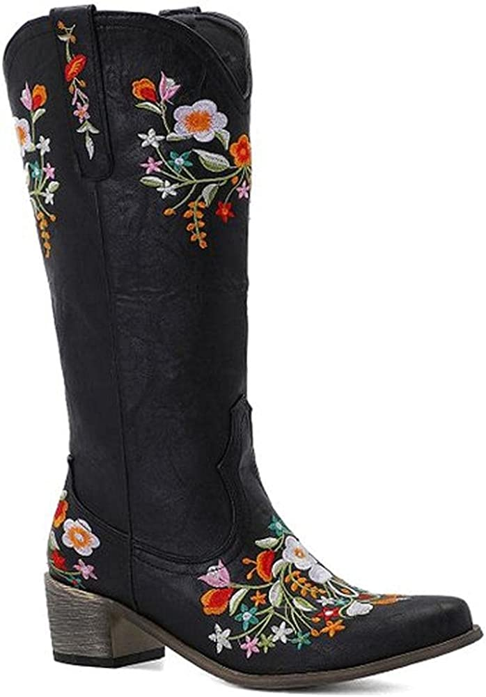 Mikarka Sale price Floral Stitched Free shipping on posting reviews Cowboy Boots for Women Toe Pointed Low C
