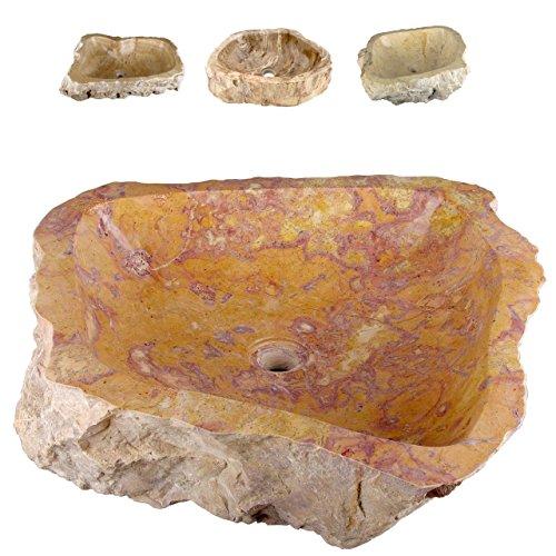Divero Natur-Stein Waschschale Savona Aufsatz-Waschbecken Handwaschbecken Marmor innen poliert außen naturbelassen gelblich rötlich