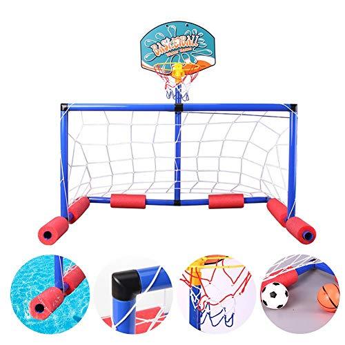 Sunniy Gioco Acquatico per Bambini 2 in 1 Gioco di pallanuoto Galleggiante Set da Gioco per Piscina Gonfiabile Gioco per Bambini con canestro da Basket per Adulti per Bambini