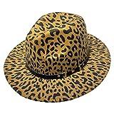 YiyiLai ハット レディース 帽子 メンズ 中折れ フェルトハット つば広帽子 カウボーイハット フェイクレザー ベルト ヒョウ柄 オークル