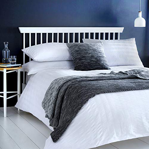 Serene Seersucker-Easy Care Duvet Cover Set, 52% Polyester, 48% Cotton, White, Double
