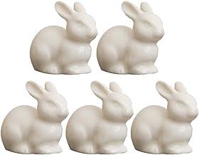 KESYOO 5pcs Ceramic Rabbit Figurine Simulation Small White Rabbit Ornament Moss Decor Micro Landscape Accessories Cake Top...