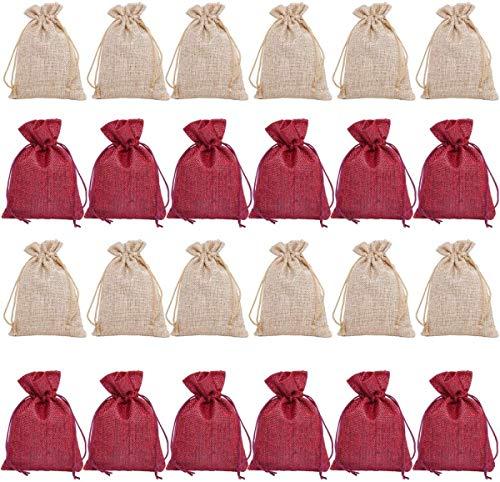 Qilicz 24 pezzi sacchetto di iuta/iuta sacco per calendario dell' avvento gioielli bomboniere e creazioni fai da te, sacchetto di iuta, borsa di stoffa, sacchetto regalo con coulisse 10x14 cm