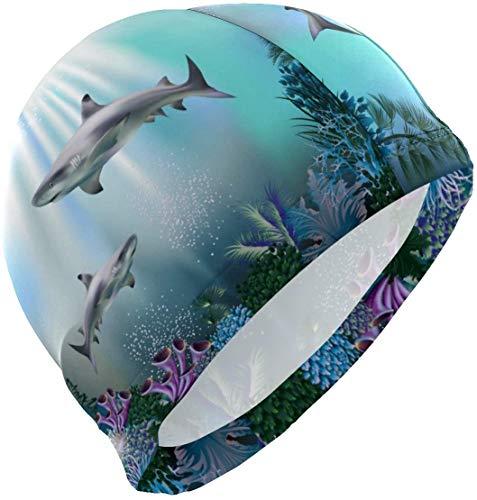 Bikofhd Badekappe Unterwasserkorallen Hai Badekappe für Männer Jungen Erwachsene Jugend Teen Badehut No-Slip