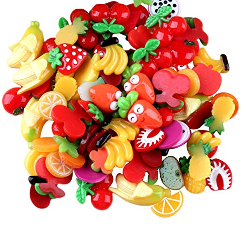 HEALLILY Fruit Charms for Slime Resin Cabochons Flatback for DIY Craft Making Scrapbooking Ornament Jewelry Hair Accessories 30Pcs (Random Pattern)