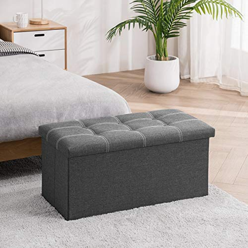 YOUDESURE 30 Inches Folding Storage Ottoman Bench Padded Seat Footrest Stool with 80L Storage Space End of Bed Ottoman Holds up to 350 Lbs Linen Fabric Grey