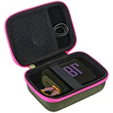 co2CREA Duro Viaggio Caso Copertina per JBL GO 3 Speaker portatile waterproof(solo scatola) (Custodia verde+cerniera rosa)