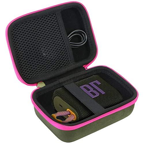 co2CREA Duro Viajar Caja Estuche Funda para JBL GO 3 Altavoz inalámbrico portátil con Bluetooth(Funda Solo) (Caja Verde+Cremallera Rosa)