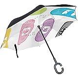 mengmeng Reverse Umbrella, Kid Band Aid Inverted Night Reflective Edge Golf Sombrillas, Toldo de Doble Capa