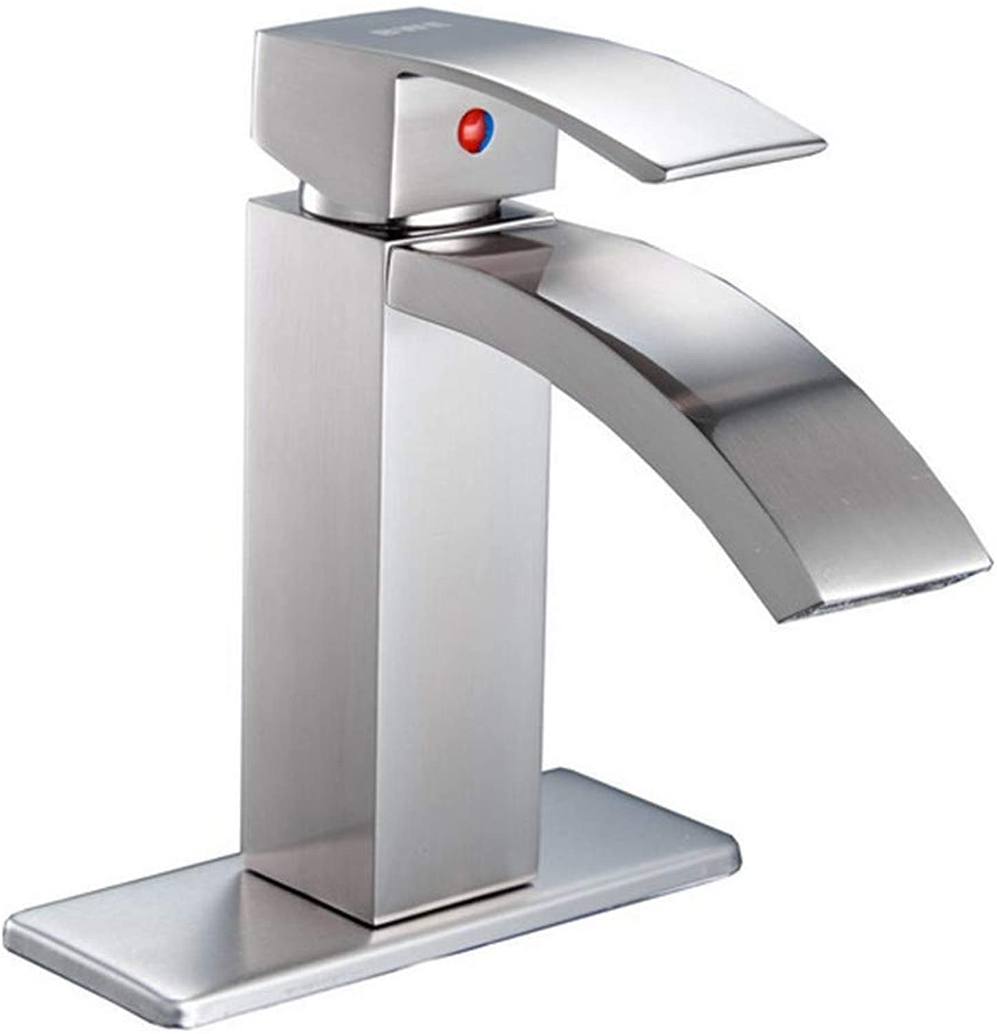 Sink Chrome-Plated Brass Faucets Brushed Nickel Single Handle One Hole Deck Mount Waterfall Bathroom Sink Faucet