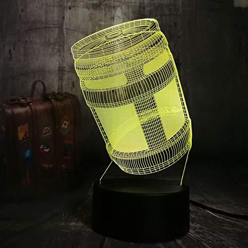 3D-nachtlampje 3D-illusielicht 3D-lichttafellamp kruik 16 kleuren illusie touch licht nachtzicht tafellamp met afstandsbediening