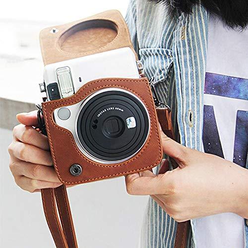 VINGVO Estuche para cámara, Estuche Blando para cámara, 161-188g Ligero, portátil, Suave y Duradero para cámara Digital con Correa Instax Mini 70(Brown)