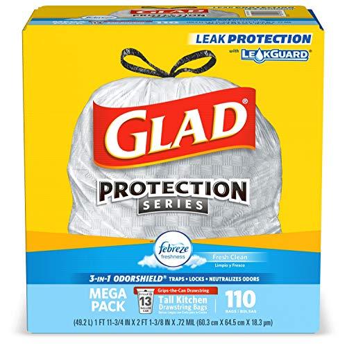 Glad Tall kitchen drawstring trash bags - odorshield 13 gallon white trash bag, febreze fresh clean, White, NOT APPLICABLE, FEBREZE - FRESH CLEAN, 110 Count