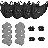4 Pack Unisex Adjustable Reusable Washable Dust Protect Mouth Cover with 8 Carbon Filters and 8 Breathing Valves for Bicycle Running Riding Cycling Outdoor Sport Black