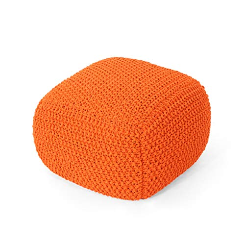Christopher Knight Home 304787 Lucy Knitted Cotton Square Pouf, Orange
