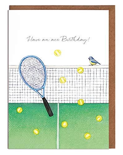 """Lottie Murphy Tennis-Geburtstagskarte – """"Have an ace Birthday!"""" – Karte für Ihn – Karte für Sie"""
