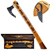 """ValhallaWarriors Real Hand Forged Carbon Steel 24"""" Battle Viking Axe - with Handmade Wooden Box and Viking Knife"""