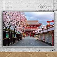 Qinunipoto 1.5x1m 写真の背景 和風 背景布 春の風景 撮影用背景布 浅草寺 古代の建物 東京最古の寺院 桜 タワー 風景の背景 赤い建物 ポートレート スタジオ ブース小道具 ビニール 日本の古典と復古と和風
