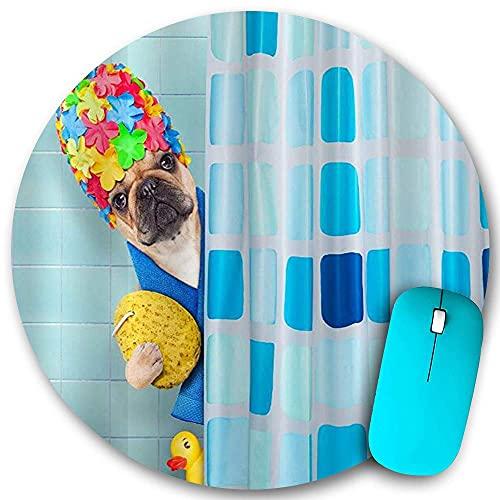 Rundes Mauspad rutschfester Gummi, französischer Bulldoggenhund in einer Badewanne Lustiger Welpe mit gelbem Plastikenten- und Handtuchdruck, wasserdichte, haltbare Mausmatte Büro-Desktops Persönlichk
