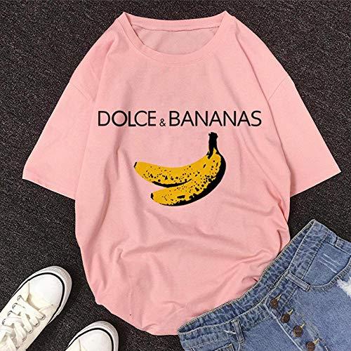 T-Shirt Femme Tshirt New Summer O-Neck À Manches Courtes T-Shirt Mignon De Bande Dessinée Femmes L 11469-Rose