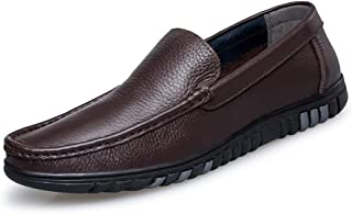 HBSSEE Driving Loafer for Men Boat Moccasins Slip Ons Brown OX Leather Simple Design Low Top Solid Color