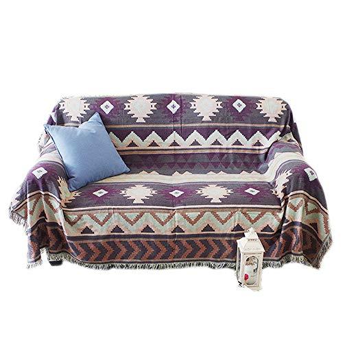 mantas para sofa,Funda de sofá con patrón geométrico, toalla de sofá doble individual de tela (90 * 210 cm)