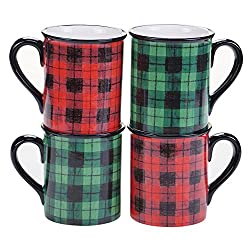 red and green plaid coffee mugs